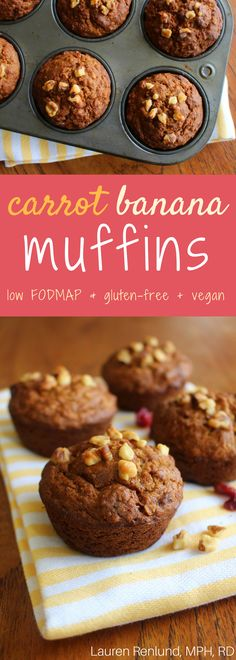 Amazing carrot banana muffins! Low FODMAP, gluten-free and vegan option. Makes a great treat or snack