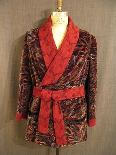 red peacock style smoking jacket