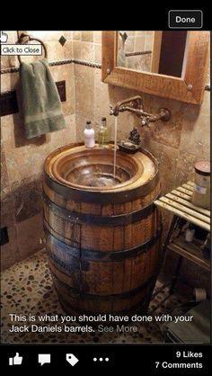 Jack Daniels whiskey barrel sink