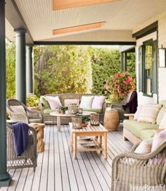 I love porches! love this outdoor space! Outdoor Rooms, Outdoor Living, Outdoor Furniture Sets, Outdoor Decor, Furniture Ideas, Porch Furniture, Cabana, Maine Cottage Furniture, Interior Exterior