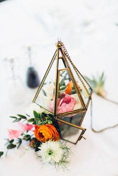 Geometric Wedding Terrarium Table Decoration with Flowers  | Colourful Geometric Spring Islington London Wedding by Lovestruck Photo | Co-ordination by London Bride | Flowers by That Flower Shop