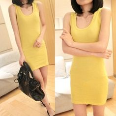New Fashion Women's Bodycon Sleeveless Long Tank T-Shirt Tops Mini Dress