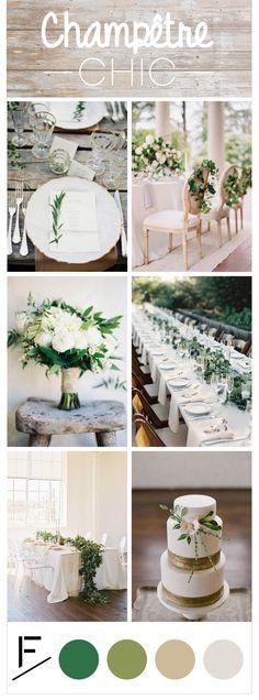 En cette belle saison de mariages, notre équipe wedding design a réalisé une nouvelle planche tendance sur le thème Champêtre chic : couleurs naturelles, verdures et bois... Inspirez-vous de cette décoration raffinée et élégante pour votre mariage !
