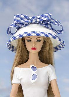 Ver producto: Sombrero con ribete y lazo vichy azul