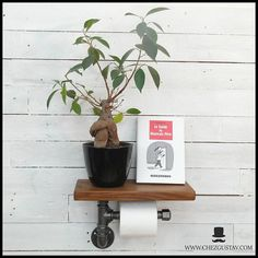 "Rustic wood shelf and plumbing pipe toilet paper holder ""caramel shade, industrial gift Rustic Shelves, Wood Shelves, Iron Pipe, Plumbing Pipe, Caramel Color, Rustic Wood, Toilet Paper, Planter Pots, Perfume Bottles"