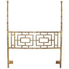 Hollywood Regency Gilded Faux Bamboo Queen Headboard ca. 1950s    1950s  Gilded steel Chinsese Chippendale style headboard in faux bamboo, with elegant extended posts.