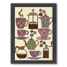 Americanflat ''Have Some Coffee'' Framed Wall Art, Multicolor