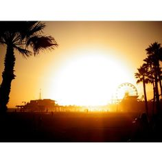 Lola James Harper Santa Monica Sunset Unframed Print , 30 x 40cm ($115) ❤ liked on Polyvore featuring home, home decor, wall art, photography wall art, contemporary home decor, photo wall art, contemporary wall art and sunset picture