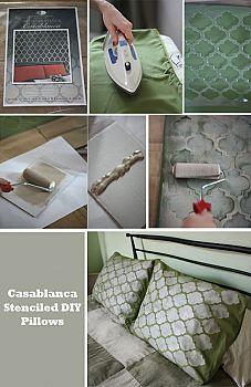 stencil diy pillow shams, crafts, home decor, Casablanca Craft Stenciled Pillow Shams Stenciled Pillows, Diy Throw Pillows, Couch Pillows, Wordpress Theme, Diy Generator, Homemade Generator, Moroccan Stencil, Moroccan Decor, Cutting Edge Stencils