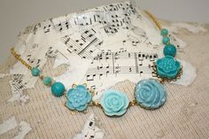 Aqua necklace turquoise necklace teal flower and by thepaisleymoon