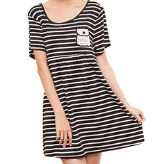 Maternity Nursing Women Short Sleeve Striped Round Collar Dress Size XL  Black ** Want additional info? Click on the image. (This is an affiliate link and I receive a commission for the sales)
