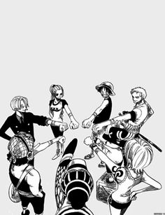 One Piece - The Straw Hat Pirates and honorary members Vivi and Karu