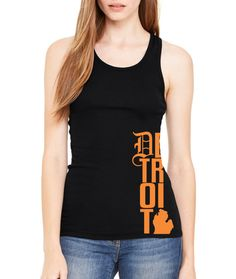 Detroit love tank Michigan Motor City Workout Exercise Crossfit Racerback Black Tank