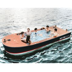 The Hot Tub Boat - Hammacher Schlemmer - This is the electric boat with a hot tub built into its deck. Engineered and built in Seattle, WA by a marine carpenter that specializes in custom house boats, the craft's Vinylester hull is topped with a slatted deck handcrafted from African teak.