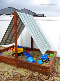 I used to daydream about the adventures my kiddos would have sailing the Sandy Seas in the sandboxes featured in catalogs like Pottery Barn Kids… until I made my own – or should I say, until I in-listed my amazing dad to help me build one. My inspiration came from this fabulous Sunset book Backyards for Kids: Playhouses, Sandboxes, Tree …