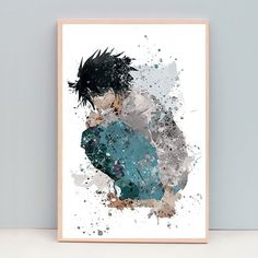 L Death Note watercolor poster, Christmas gifts, Manga, anniversary gifts for boyfriend, gift for him, Nursery Room, dorm decor