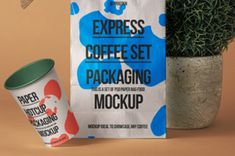 A fresh psd paper bag mockup set to showcase your designs inducing a psd paper cup mockup and accessories. You can... Billboard Mockup, Bag Mockup, Pocket Notebook, Bag Packaging, Brushed Metal, Coffee Set, Your Design, Herbalism, Templates