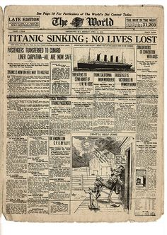 Titanic: The World - April 15, 1912 ... This century old newspaper is long out of copyright, making it legal for Heritage Vancouver to scan or photograph it.  However, the act of making an exact copy - whether a scan or a photograph - of an existing work does not confer copyright.  [http://www.capic.org/resources.html?screen=bp=bp_section=What+You+Sell] Titanic: The World - April 15, 1912 by Heritage Vancouver, via Flickr