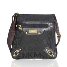 Michael Kors Logo Signature Stud Large Black Crossbody Bags Outlet - $74.99