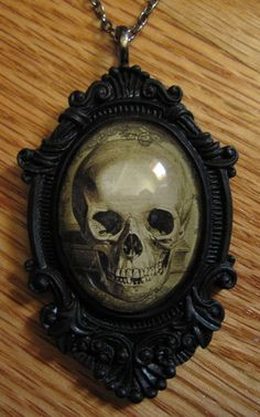 Goth Skeleton Skull Victorian Black Framed Glass Cameo Necklace Pendant Vintage | eBay