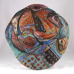 """Color Dance, wall sculpture, earthenware, underglazes, 12""""x13"""", METaylor"""