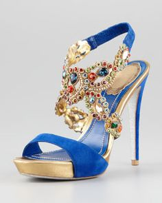 X1HEQ Rene Caovilla Jeweled Ankle-Wrap Platform Sandal