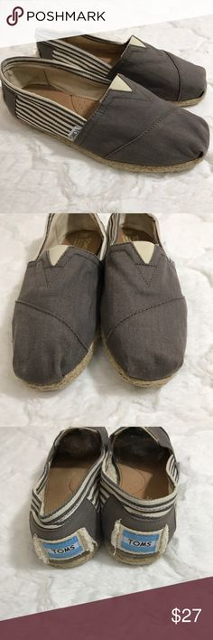 Toms stripe grey and cream Women's Toms shoes Iconic slip-on design Breathable canvas upper Suede insole creates a healthy foot climate One-piece outsole designed with mixed rubber for durability and comfort Woven Toms label to heel and side These are in amazing shape. Look unworn. No stains. No tears and no odors TOMS Shoes Flats & Loafers
