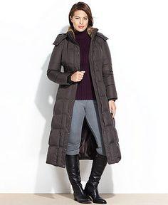 London Fog Plus Size Coat, Faux-Fur-Trim Hooded Puffer Maxi - Womens Coats - Macy's