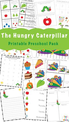 The very hungry caterpillar activities for preschool and kindergarten includes sequencing, preschool lesson plans, mini book, literacy activities and more fun printables.