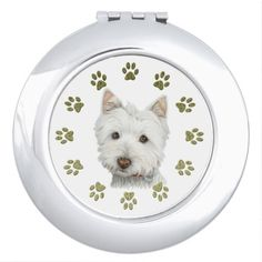 Cute Westie dog art and Paws compact mirror
