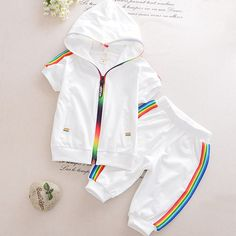 Kid Boy Girl Clothes Sportswear Summer 2018 Fashion Short Sleeve Colorful Zipper Hooded Clothing For Girls Children Outfit Set Boys Summer Shirts, Boys Summer Outfits, Baby Boy Outfits, Outfit Summer, Casual Summer, Blogger Moda, Blogger Style, Boys Clothes Style, Baby Boy Fashion
