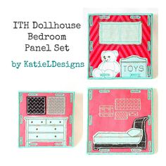 In The Hoop Dollhouse Bedroom Panel Set Machine Embroidery Design by KatieLDesigns 4x4 ITH Toy Dollhouse or Travel Dollhouse
