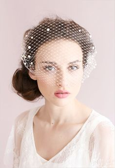 Pearl adorned tulle bandeau veil from Twigs and Honey