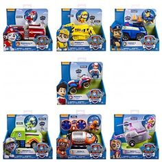 Paw Patrol Set of 7 Rescue Vehicles: Rocky Skye Rubble Marshall Chase Zuma Ryder Complete Set. Paw Patrol Gifts, Paw Patrol Party, Paw Patrol Birthday, Paw Patrol Tower, Zuma Paw Patrol, Toy Cars For Kids, Robots For Kids, Power Rangers Movie Suits, Paw Patrol Bedding