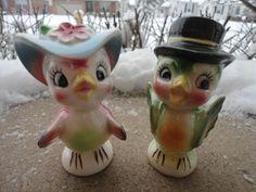 VINTAGE ANTHROPOMORPHIC JAPAN NORCREST?PINK&GREEN BIRD SALT&PEPPER SHAKERS*CUTE*