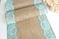 Aqua Wedding table runner lace on natural burlap by HotCocoaDesign