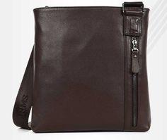 black/brown fashion leather shoulder messenger bag for men