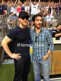 Josh Dallas and Colin O'Donoghue at a football match.