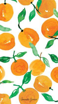 Cute Wallpaper Backgrounds, Wallpaper Iphone Cute, Cute Wallpapers, Summer Wallpaper, Illustration, Orange Background, Watercolor Design, Background Patterns, Pattern Wallpaper