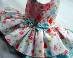 Small dog dress Chihuahua Clothing T - cup puppy Yorkie coat Flower dog outfit Wedding Party Lux