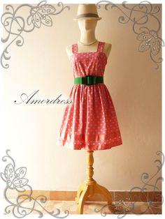 BIG SALE Pink Retro Dress Amor Vintage 50's Inspired by Amordress, $35.00