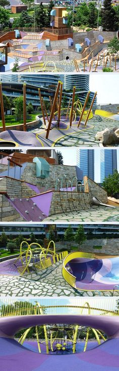 Deep valleys, a bridge and a giant slide are elements of the Carve-designed Zorlu Playground in Istanbul. Click image for link to full profile and visit the slowottawa.ca boards >> http://www.pinterest.com/slowottawa