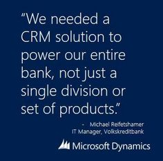 Microsoft Corp. announced in Dubai that a lot of financial institutions are modernizing their business operations and choosing Microsoft Dynamics CRM to put their customers first. You can read more here:http://bit.ly/15zEoQY