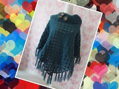 Soutbay poncho with fringes - petrol