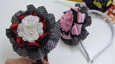 Diy ribbon bow, Hair Bow Tutorial , Arco con flores Acrílicas, Pap Moños...