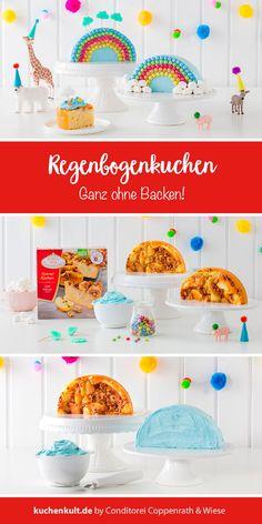 Rainbow cake for kids birthday - Kindergeburtstagstorte - Regenbogentorte - . Homemade Cake Recipes, Homemade Baby Foods, Baby Food Recipes, Drink Recipes, Birthday Cakes For Women, Cakes For Boys, Cake Kids, Hair Rainbow, Kids Rainbow