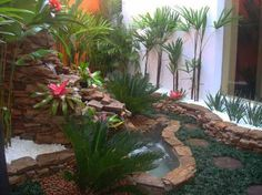 Garden, Very Small Backyard Garden House Design With Stone Waterfall And Ponds Ideas: Interesting Garden Design Ideas to Consider Applying in Your Home Landscaping Around Trees, Yard Landscaping, Landscaping Ideas, Tropical Landscaping, Small Garden Design, Patio Design, Small Backyard Gardens, Outdoor Gardens, Design Jardin