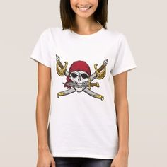 Pirate skull and cross swords Size: Adult L. Pirate Skull, Wardrobe Staples, Pirates, Fitness Models, Swords, Casual, Mens Tops, Cotton, T Shirt