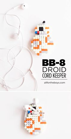 DIY BB8 perler bead cord keeper. Make your droid anyway you want! Such  fun Star Wars craft. We love BB-8!