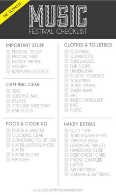 The Ultimate Music Festival Checklist - check it out on our blog - www.alejandroeyewearblog.com
